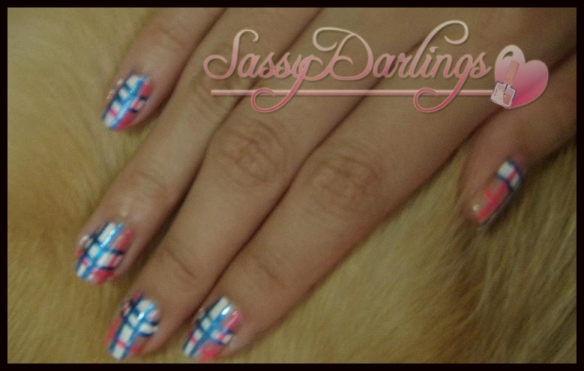 Nails Art: Blue And Pink Plaid Nail Art Tutorial