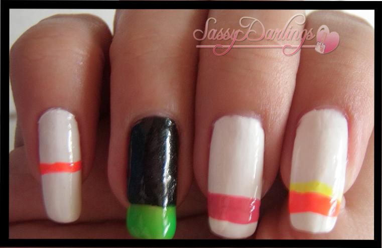 Nails Art: 2NE1 Minzy's White Striped Nails Inspired Tutorial