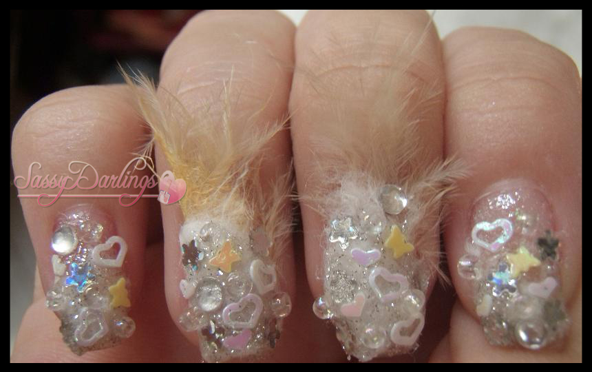 Nails Art: 3-D In White With Feathers Nail Art Tutorial