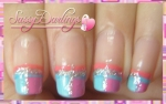Pink and Blue French Manicure