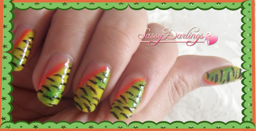 Nails Art: Zebra Green And Yellow (2)