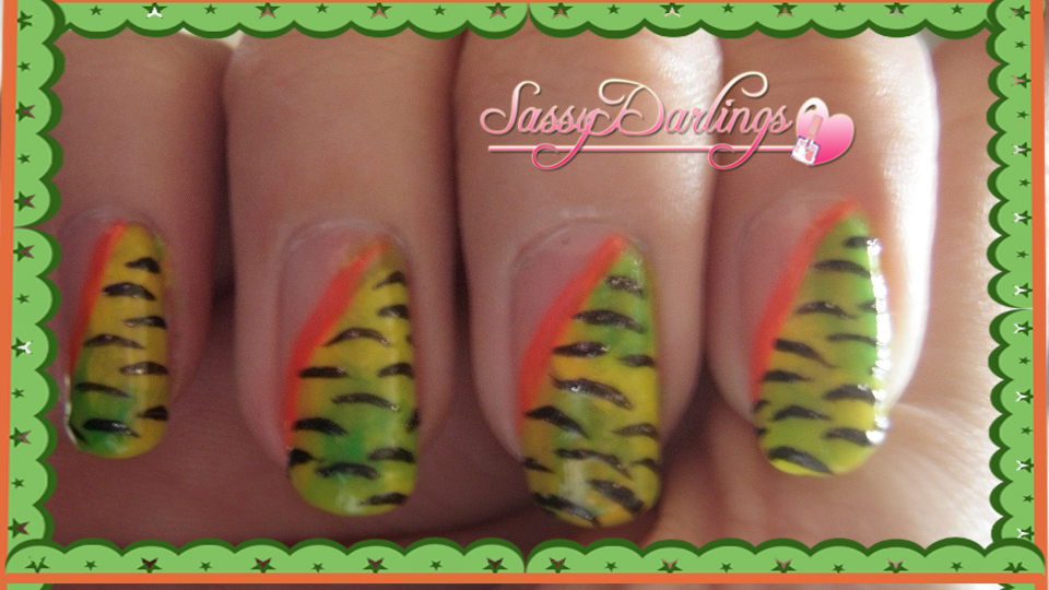 Nails Art: Zebra Green And Yellow Nail Art