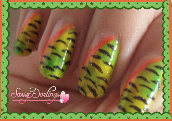 Nails Art: Zebra Green And Yellow