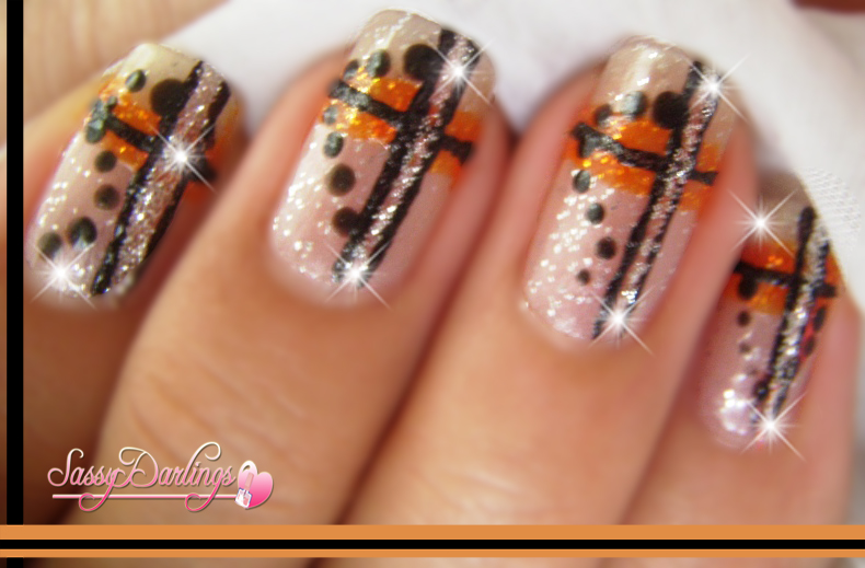 Nails Art: Orange And Black