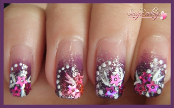 Purple Glamour Nail Art