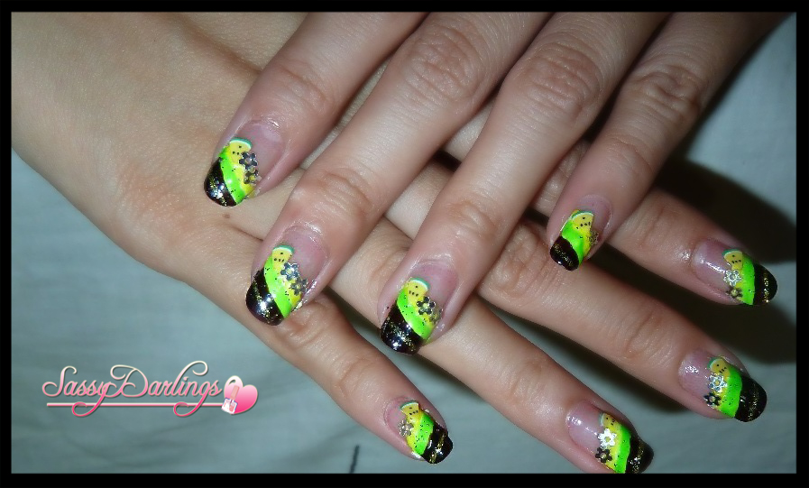 My Graduation Nails Green And Yellow Nail Art Love