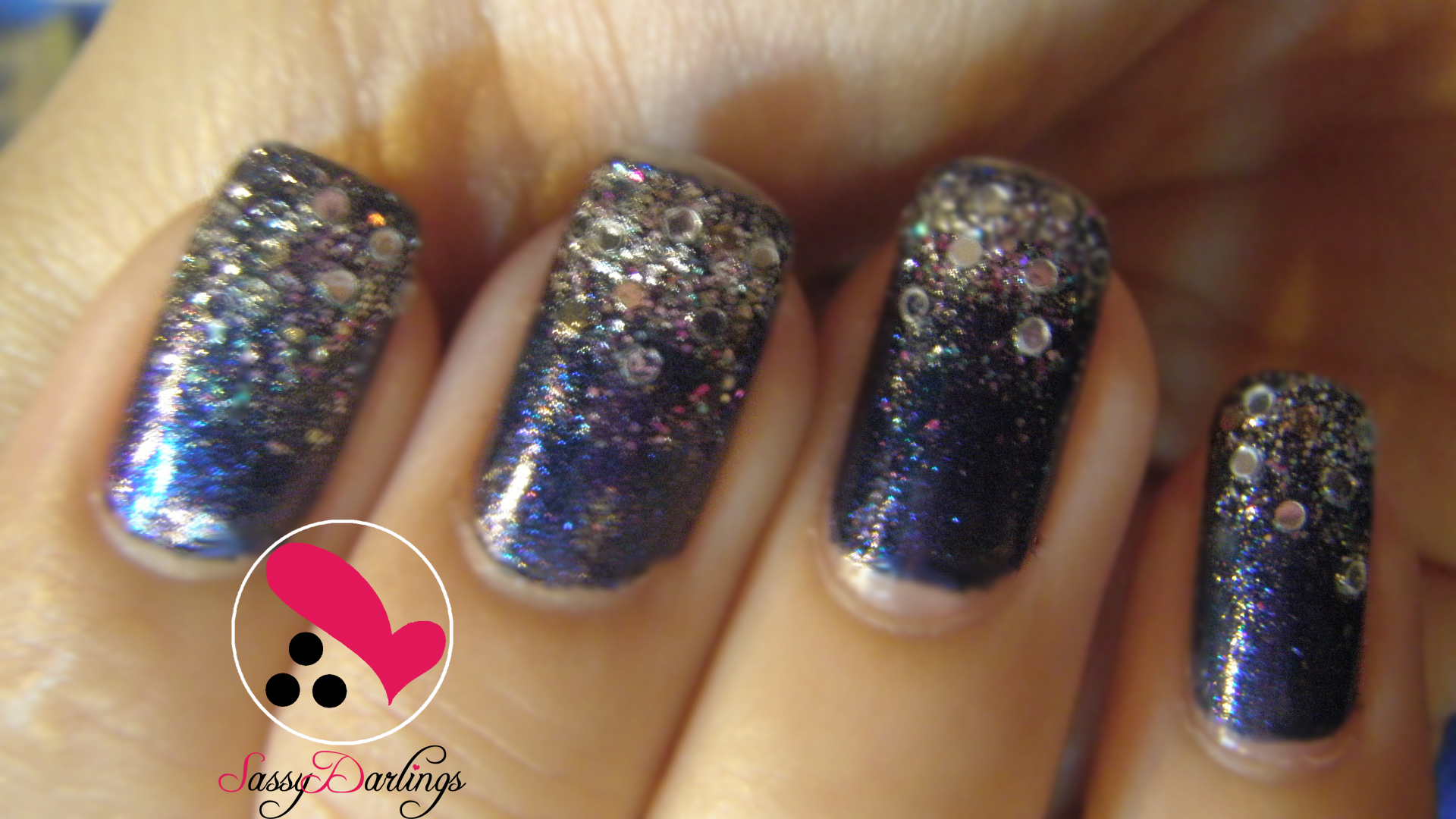 Sequins Nail Art Love