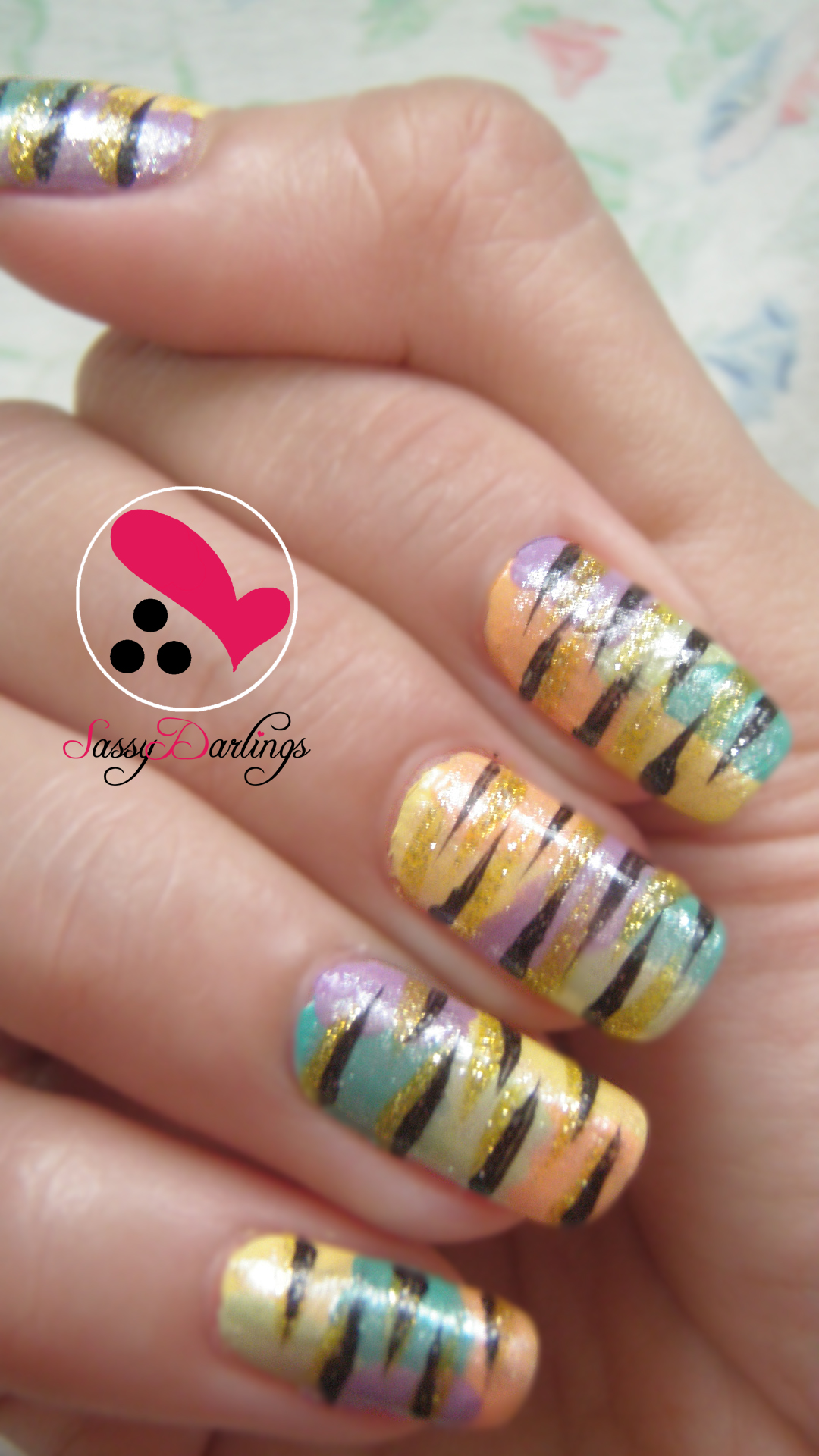 Nail Art Designs And Nail Polishes For French Manicure: Colorful Zebra Print Nail Art Tutorial