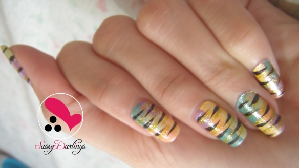 Colorful Zebra Print Nail Tutorial by Sassydarlings